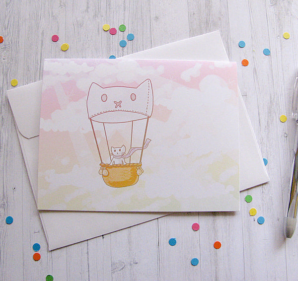 Hot Air Balloon Cat Greeting Card