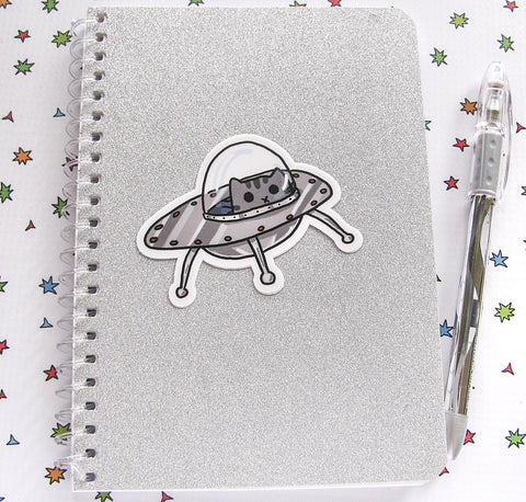 Kitty in a UFO Vinyl Sticker