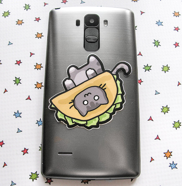 Grey Taco Cat Vinyl Sticker