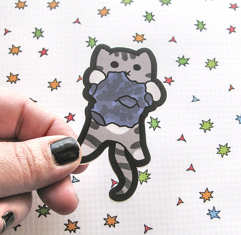 Kitty on a Meteor Vinyl Sticker