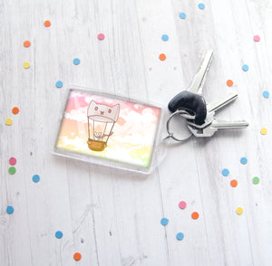 Hot Air Balloon Cat Keychain
