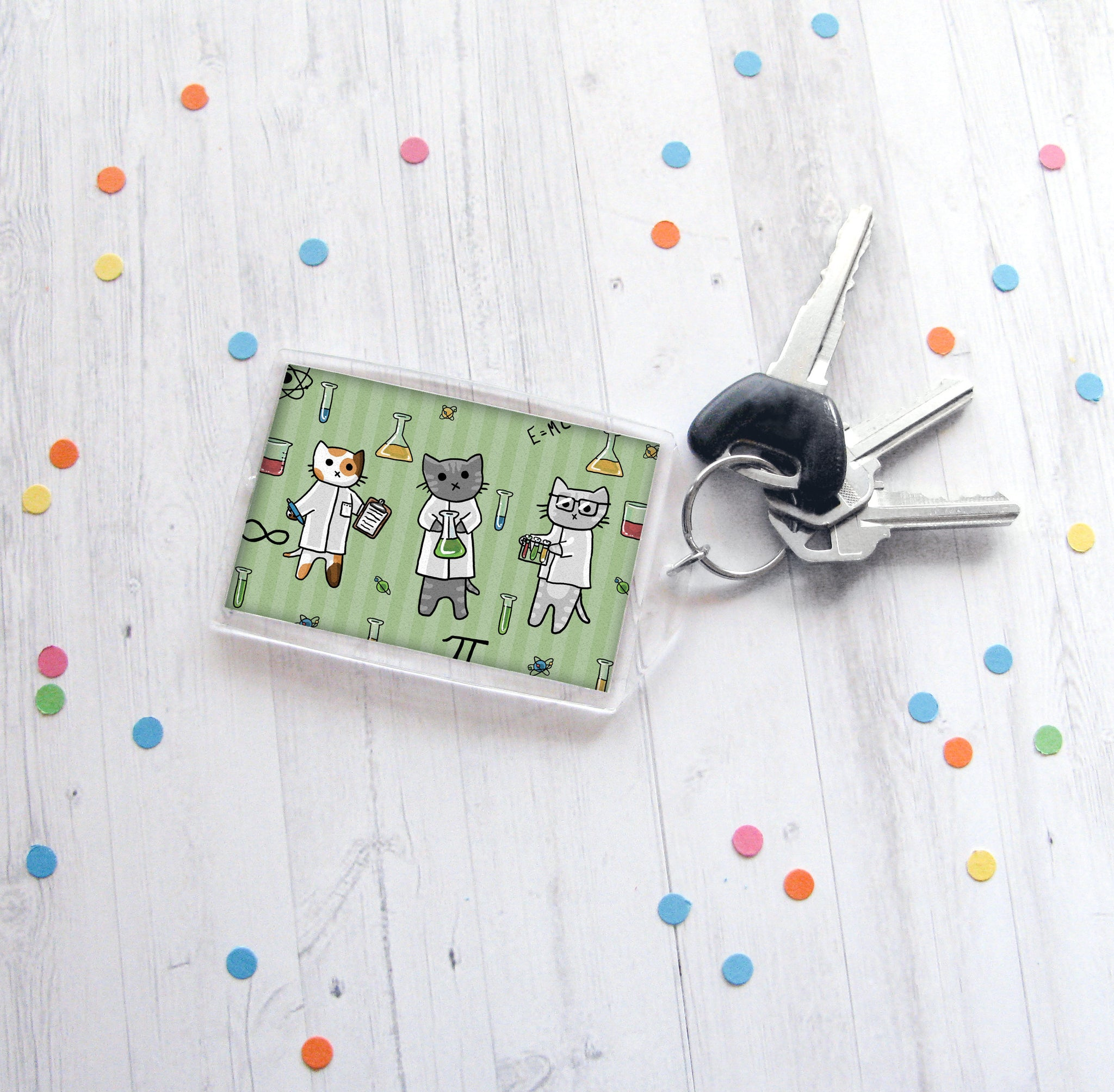 Science Cats Keychain