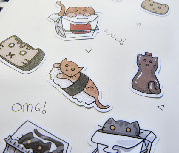 Takeout Cats Sticker Flakes