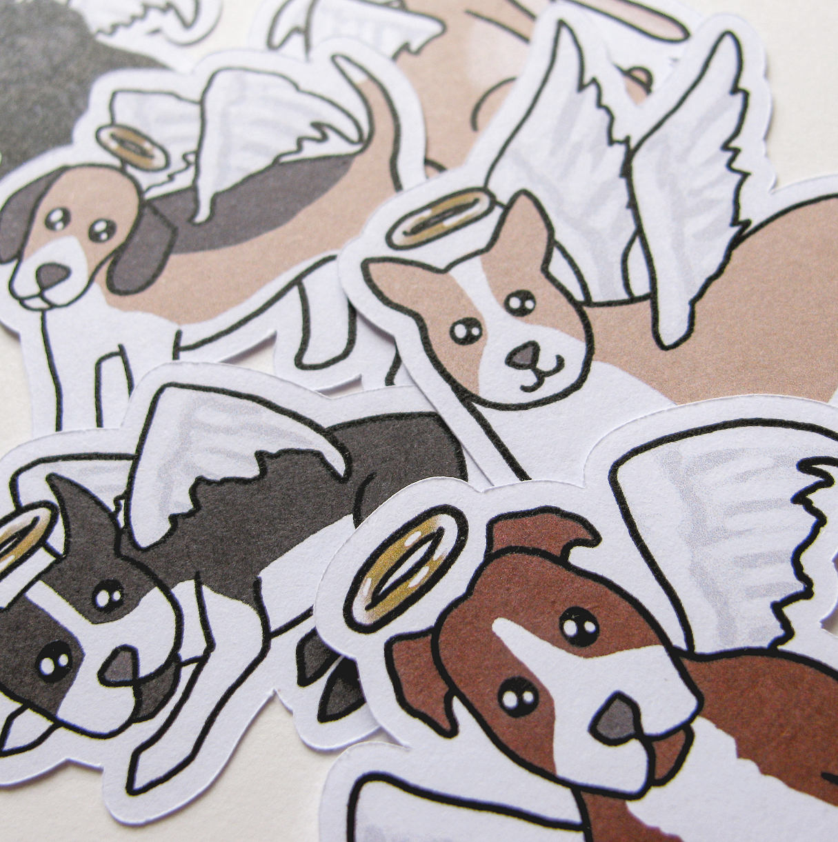 Angel Dog Sticker Flakes