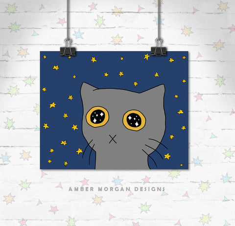 Starry Eyed Kitty 8x10 Print