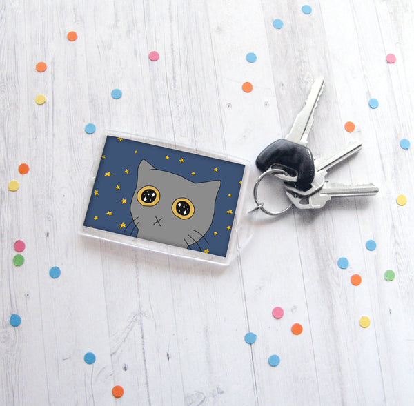 Starry Eyed Kitty Keychain