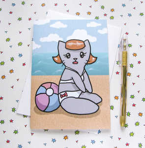 Beachy Kitty Greeting Card