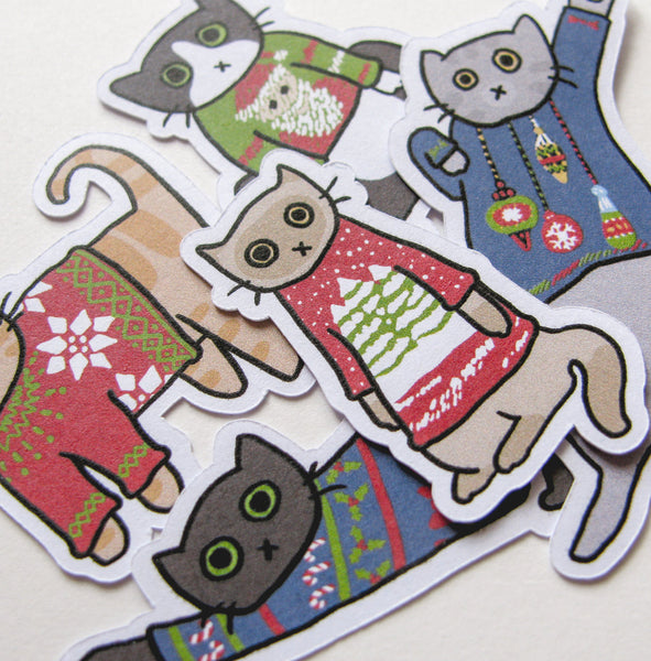 Ugly Sweater Cat Sticker Flakes
