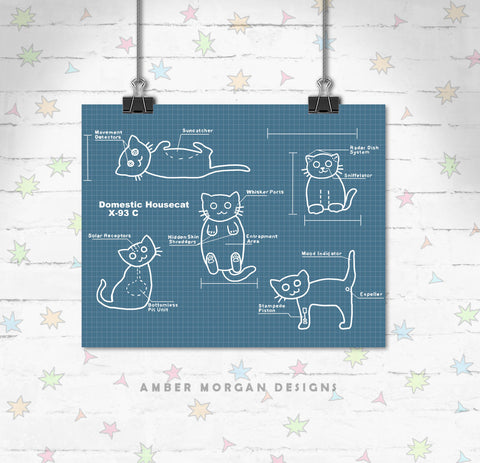 Blueprint Cats 8x10 Print