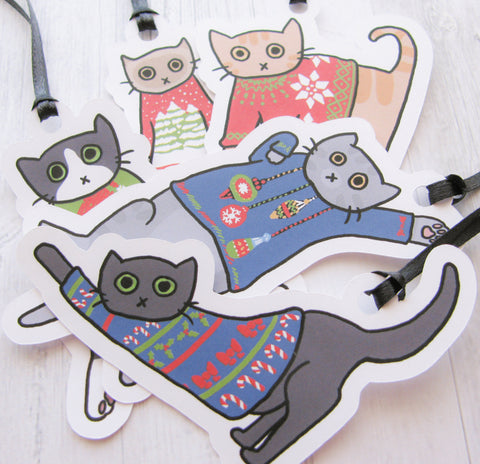 Ugly Sweater Cat Gift Tags