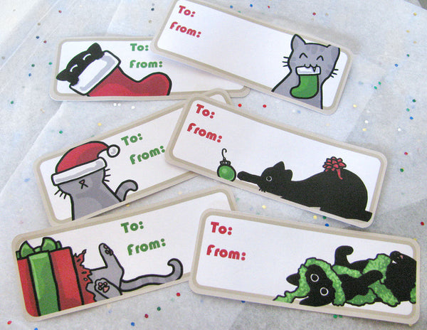 Christmas Cats Gift Labels
