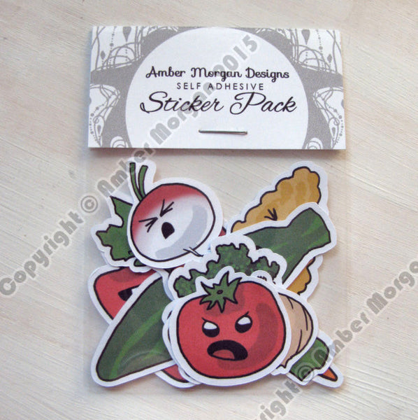 Angry Veggies Sticker Flakes