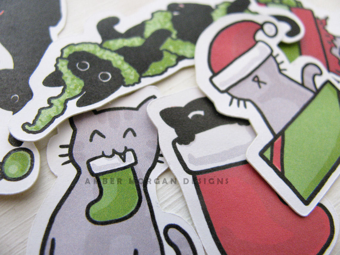 Christmas Cats Sticker Flakes