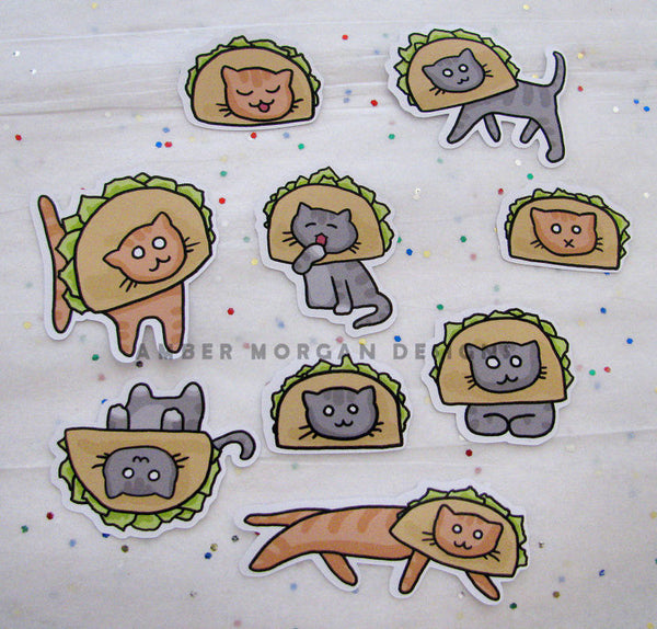 Cats in Taco Hats Sticker Flakes