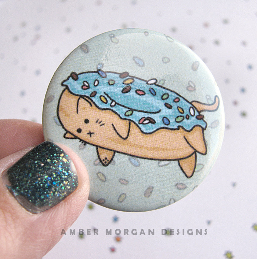 Donut Cat Button