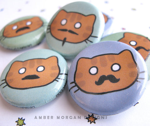 Moustache Cat Button Set
