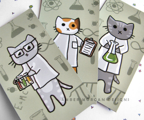 Science Cat Magnet Trio