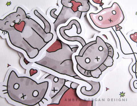Valentine's Cats Sticker Flakes
