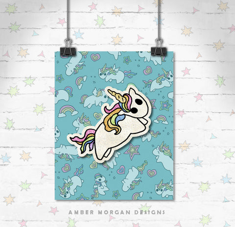 Rainbow Unicorn 8x10 Print