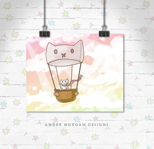 Hot Air Balloon Cat 8x10 Print
