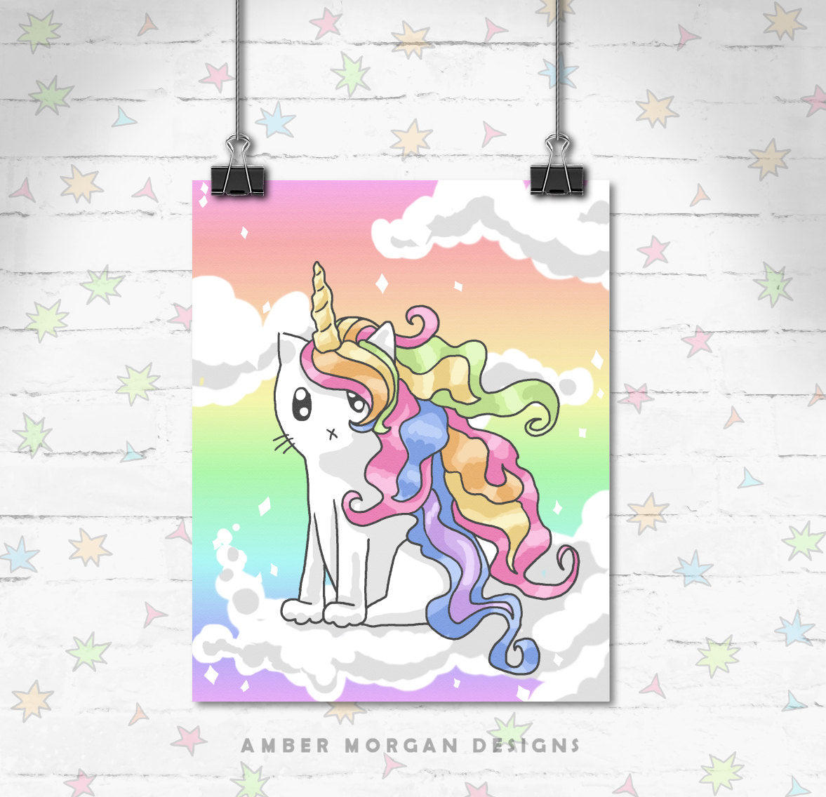 Rainbow Caticorn 8x10 Print