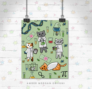 Science Cats 8x10 Print