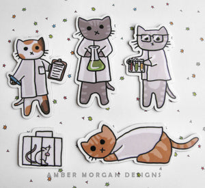 Science Cat Magnet Set
