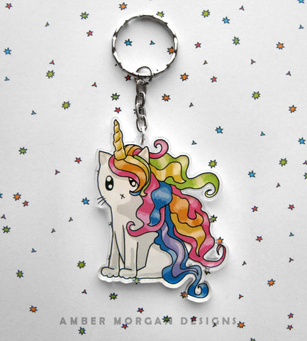Rainbow Caticorn Keychain