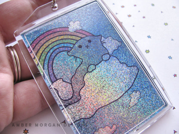 Cloud Kitty Holographic Keychain