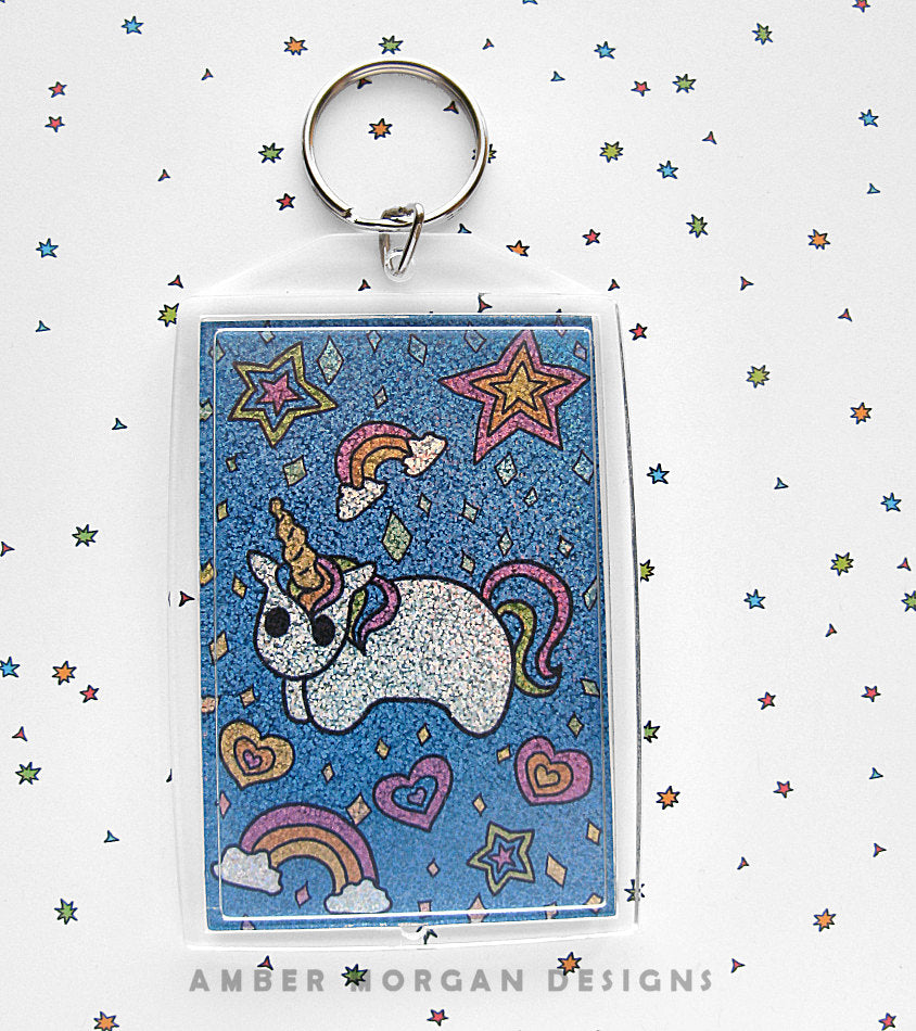 Rainbow Unicorn Holographic Keychain