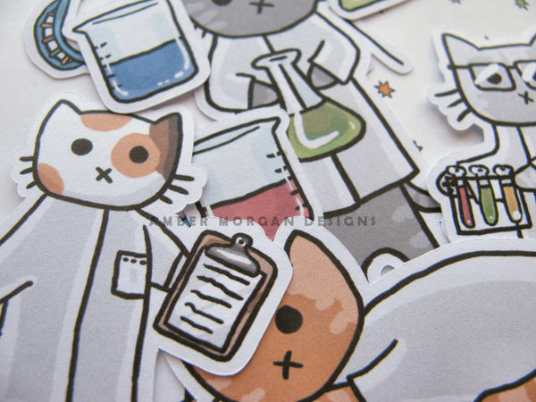 Science Cat Sticker Flakes