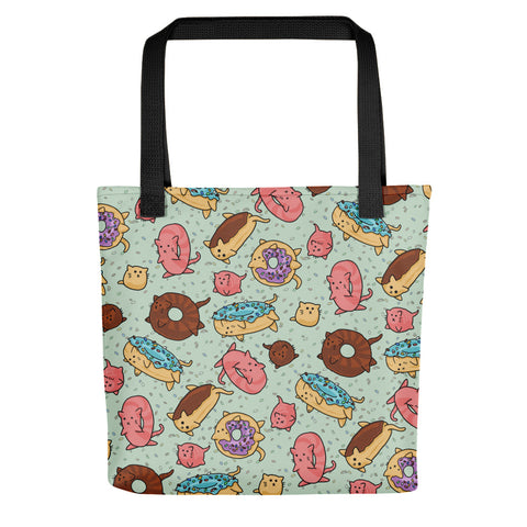 Donut Cats Tote bag, cute kitties, shoulder bag, reusable bag, canvas tote, cute animals
