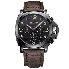 MEGIR Military Genuine Leather Wristwatch