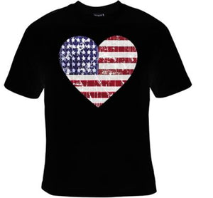 Distressed Heart Shaped American Flag Unisex Shirt
