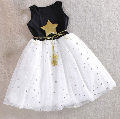 Baby Girls Sequins Dress Star Printed with Belt Sleeveless Princess Party Kids Dresses