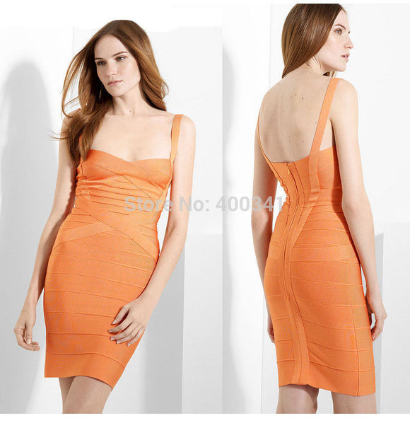 2018 New Women Spaghetti Strap Rayon HL Elastic Celebrity Bandage Dress