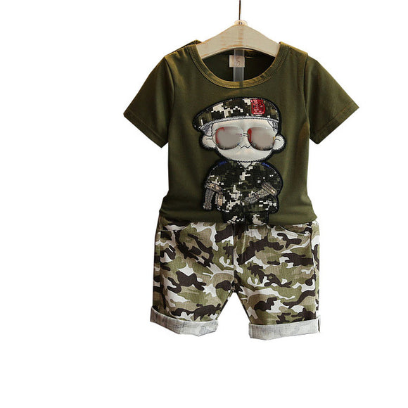 Summer  Sets Kids 2pcs Short Sleeves T-Shirt Toddler Suits Camouflage Shorts Child
