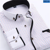 Casual Long Sleeved Printed shirt Slim Fit Male Social Business