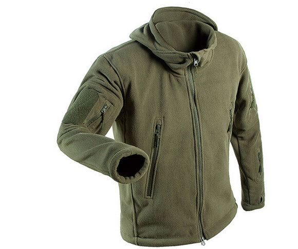 Military Tactical Fleece Jacket Men   Windbreaker Clothes Male Multi Pockets Outerwear Hoodie Coat