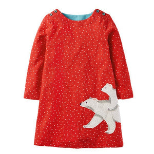 Long Sleeve Dress Girls Clothes Winter Kids Dresses for Girls Animal Applique Princess Dress