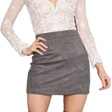 High Waist Suede Tight Mini Skirt