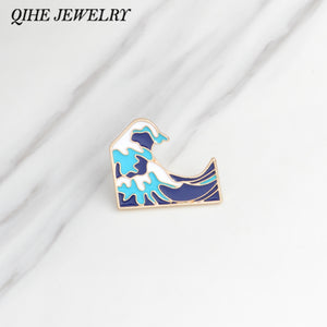 Pins Ocean Wave Brooch Men women Clothing