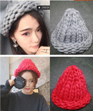 Women's Fashion Winter Wool Hat Coarse Lines Outdoor Warm Hat Beanie Knitted