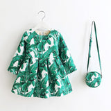 2018 Autumn Winter Floral Print Toddler Girl Dresses Kids Clothes Children Dress with Bag