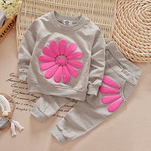 2018 New 2pcs spring autumn children clothing set baby girls sports suit sunflower casual