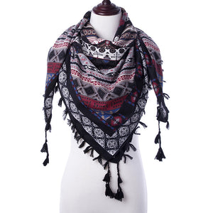 Scarf Winter  Square Scaves Warm Girls Shawl Tassel Printed Wraps Women Thick