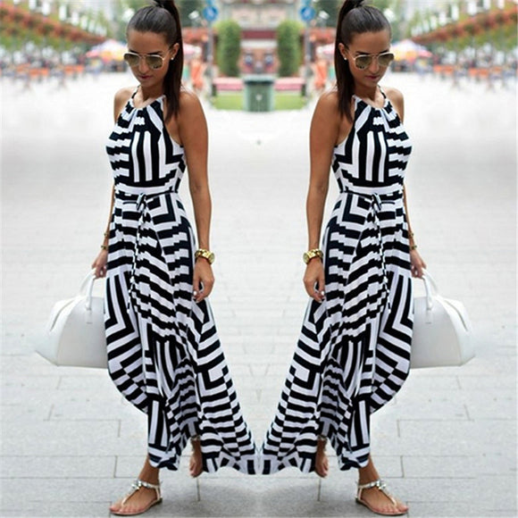 Women's Summer Dress Sexy Boho Striped Sleeveless Maxi Dress Long Beach Style Sunflowers Dress