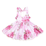 Baby Girls Dress Brand Summer Beach Style Floral Print Party Backless Dresses  1-9Yrs