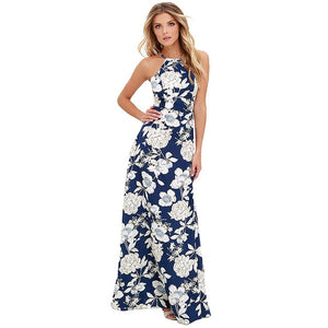 2018 Summer Maxi Long Dress Women Halter Neck Vintage Floral Print Sleeveless Dress 5XL Plus Size