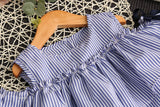 2018 Summer Girls Clothes Stripe Dress for Girls Kids Ruffles  + Headband Korean Children Dress